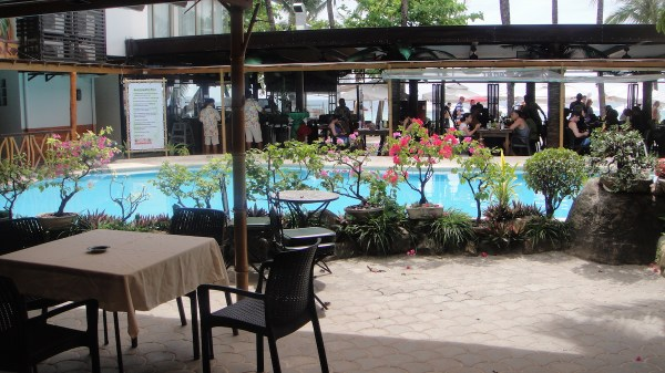 A view of the pool and the hotel's breezy restaurant