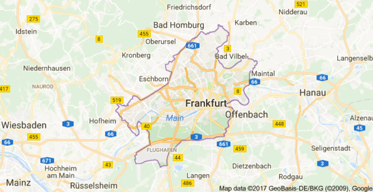 Location of Frankfurt within the state of Hesse via Google Map Out