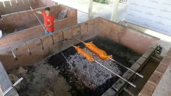Open pit roasting area at Mactan Alfresco Food Trip in Cebu