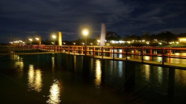 Hagnaya Beach Resort's boardwalk at night