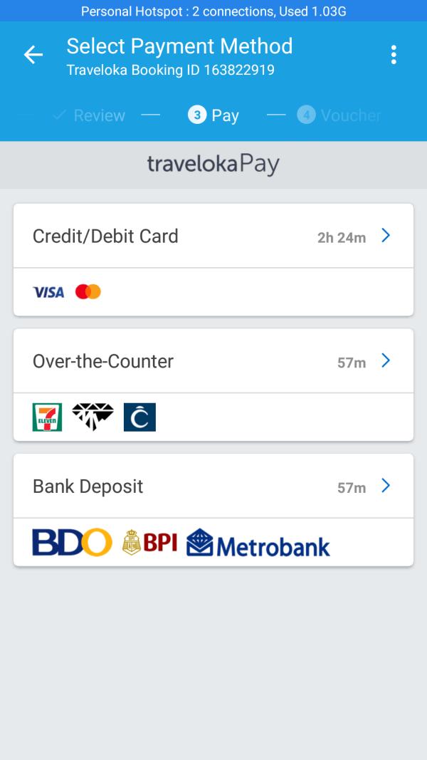 Traveloka Payment options