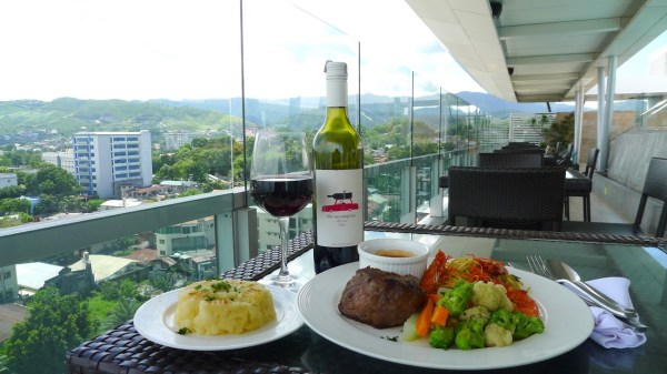 Western Steak Plus paired with a glass of Shiraz