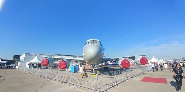 Aircrafts on display at the International Air Show in Paris