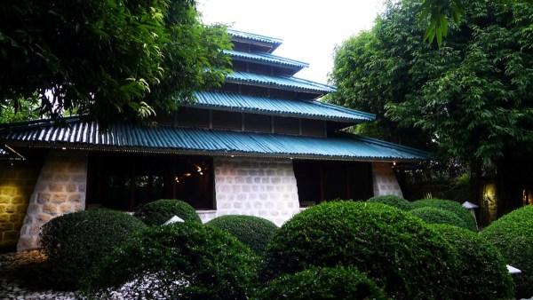 Pagoda as centerpiece of Mogambo Springs