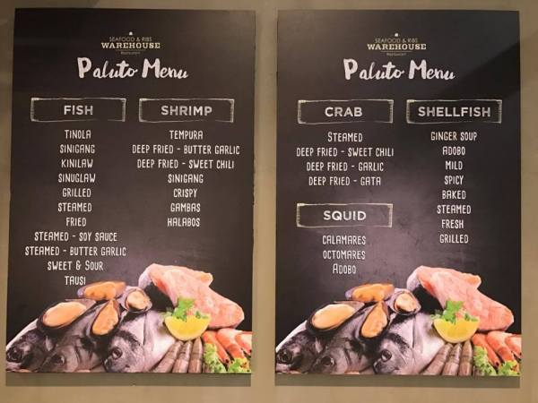 Paluto Menu at Seafood and Ribs Warehouse