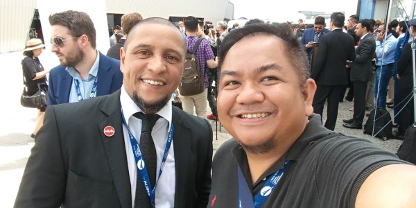 With Roberto Carlos RC3 of Real Madrid C.F. at the Paris Air Show