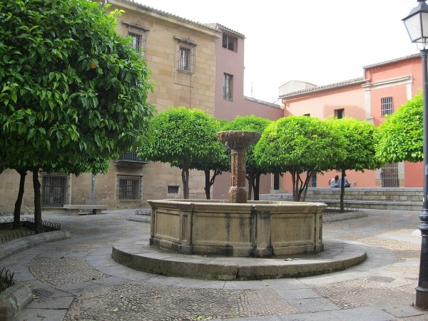 a historic square in Plasencia with topiary
