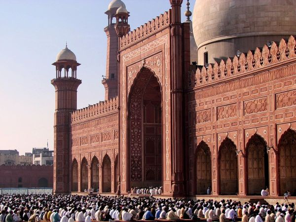 Eid al-Adha - Eid prayer in Badshahi Mosque photo via Wikipedia