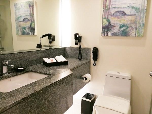 spacious toilet and bath