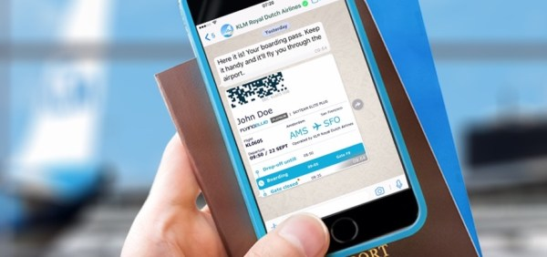 KLM boardingpass via whatsapp