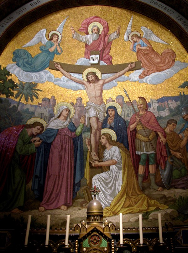 One of the intricate mosaics for the Station of the Cross.