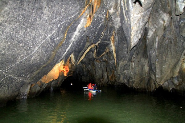 Tourist exploring the Underground River