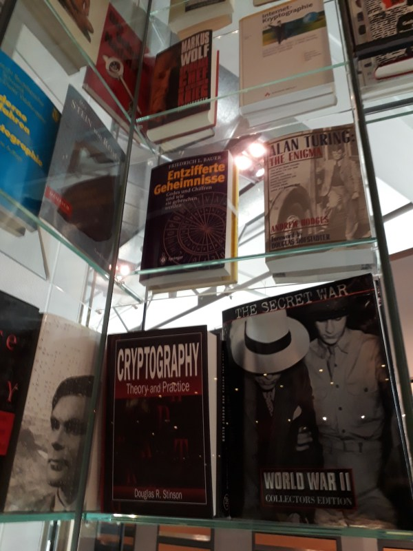 All the books on cryptography and Alan Turing on the arch
