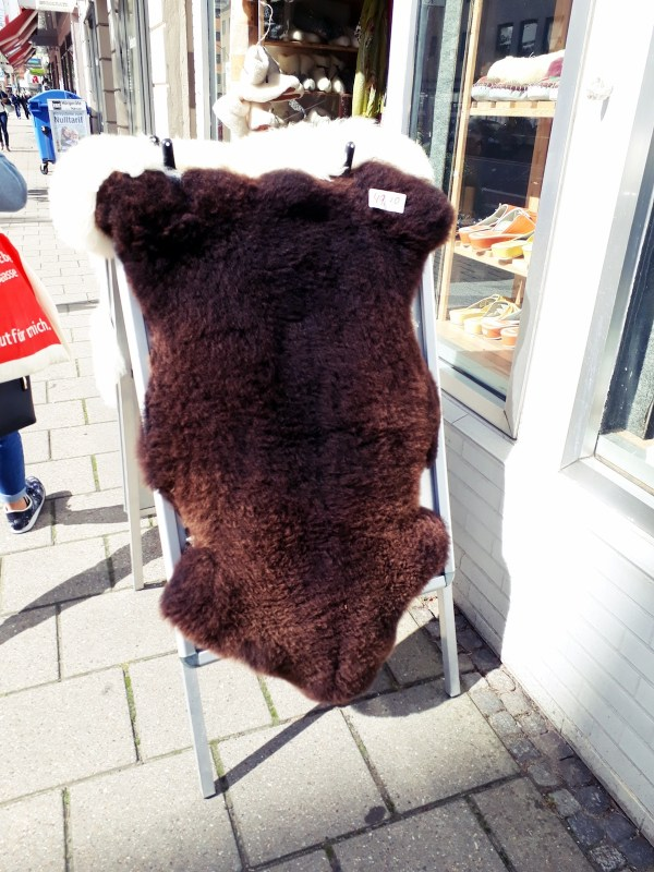 Real sheepskin for sale at a wool shop