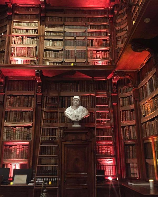 A statue inside the Angelica library