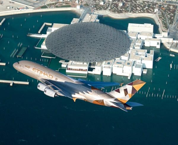 ETIHAD AIRWAYS AIRBUS A380 OVERFLIES LOUVRE ABU DHABI