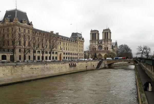 Paris Notre Dame along the Seine.