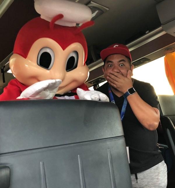 Me and Jollibee inside Lakbay Norte Bus