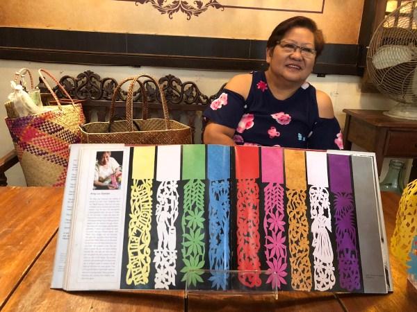 Mrs. Naty Ocampo-Castro and her Pabalat art