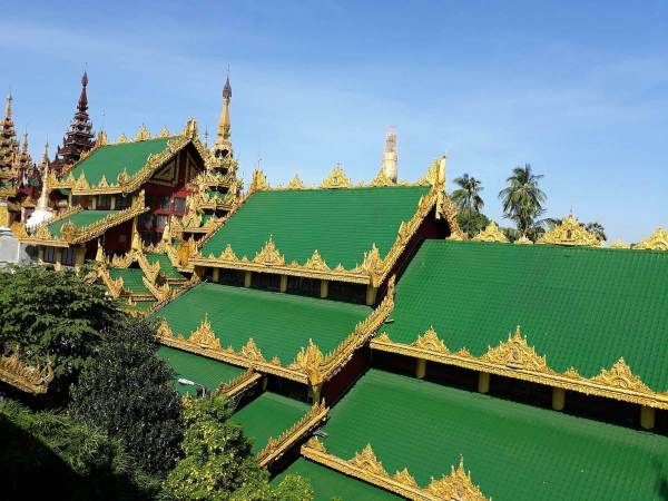 Roof of the entrance gate of Shwedagon Pagoda in Yangon
