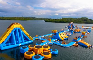 Aerial shot of the Inflatable Island in Kamia Bay Resort.