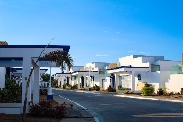 Villas at Thunderbord Resorts colored in white and blue.