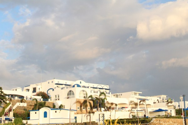 Facade of the resort from the beach club.