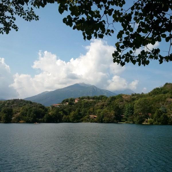 The mountainous range of Ivrea hovering beyond Lake Sirio