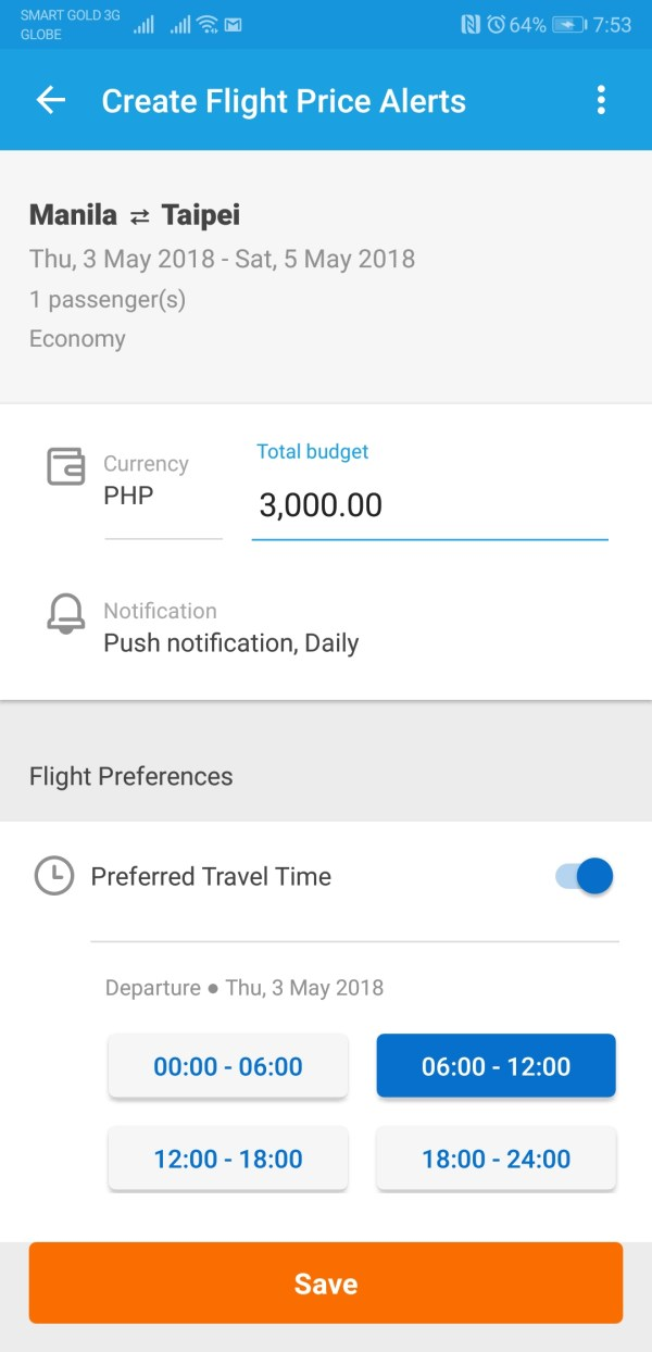 Create Flight Price Aterts with Traveloka