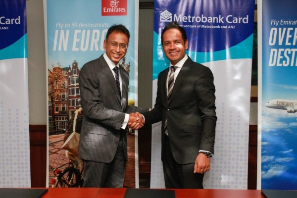 Emirates and Metrobank recently signed a partnership where Metrobank cardholders can enjoy discounts for Emirates flights to Europe when they book their flight using their Metrobank debit and credit card. In the photo are Metrobank President Pradeep Pant and Emirates Philippine Country Manager Satish Sethi.