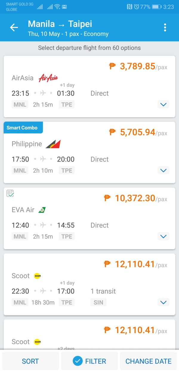 Taipei Flight Options after using time Filter with Traveloka