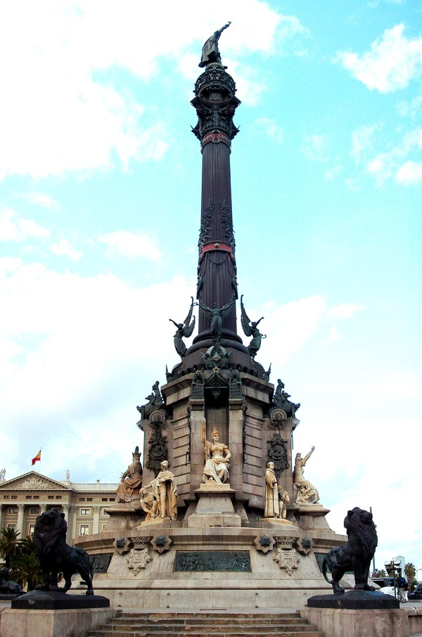 The tall column of Christopher Columbus at the end of Las Ramblas.