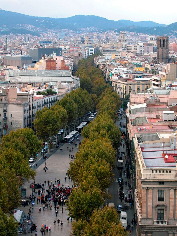 The view of Las Ramblas from the top of the Columbus monument.