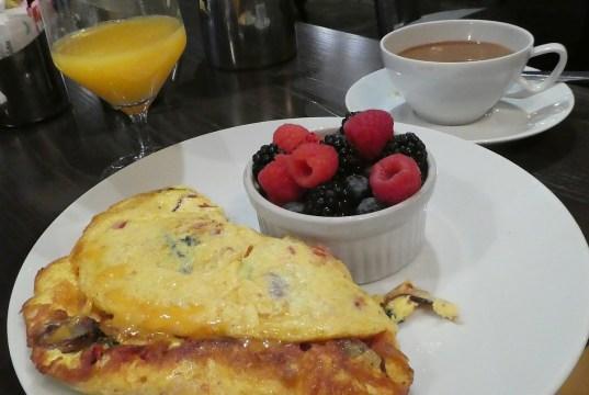 An over-stuffed omelet makes a fine breakfast.
