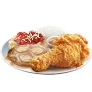 1 pc Jollibee Chickenjoy with Burgersteak and half Spaghetti
