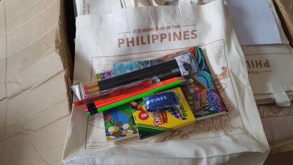 A bag of school supplies from Tourism Promotions Board