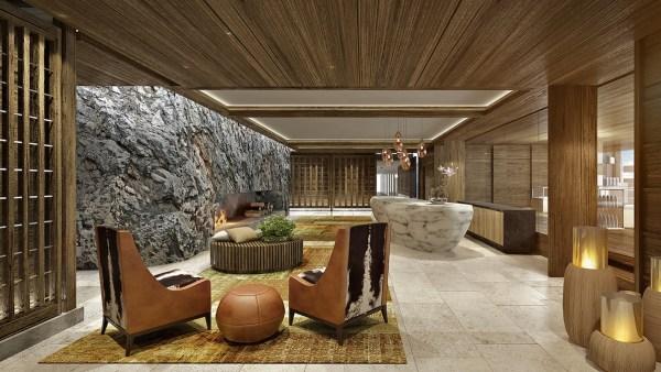 Lobby of Burgenstock Resort Lake Lucerne