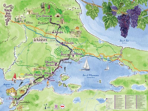 The Thrace Wine Route Map via Thrace Tourism Operators Association