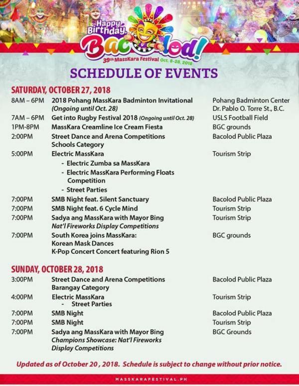 2018 Bacolod MassKara Festival Schedule of Activities