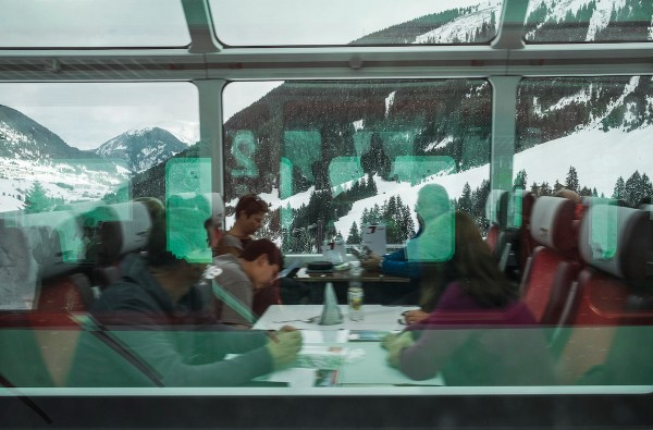 The Glacier Express on its way to Zermatt passes by our local train.