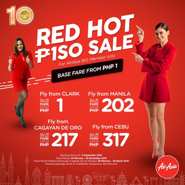 AirAsia Red Hot Piso Sale 2018: Big Discounts for as low as Php1 #RedHotPisoSale