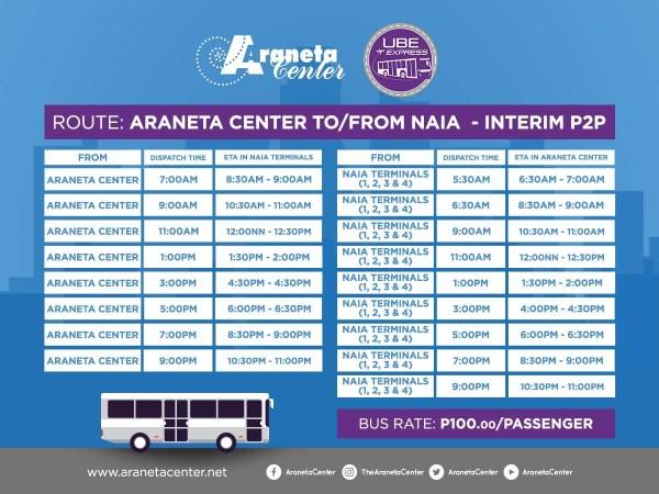 Araneta Center Ube Express P2P Bus Trip Schedule image via Araneta Center Website
