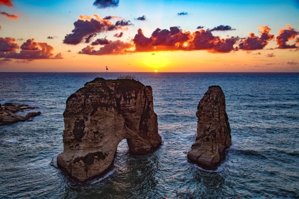 Raouche Rocks, Beirut, Lebanon photo by ramy kabalan via Unsplash