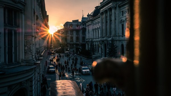 Sunset in Bucharest Old Town by Giuseppe Milo via Wikipedia CC