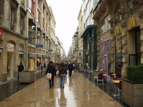 Rue Sainte-Catherine in Bordeaux, France on a rainy spring day. by Flyer84 via Wikipedia CC