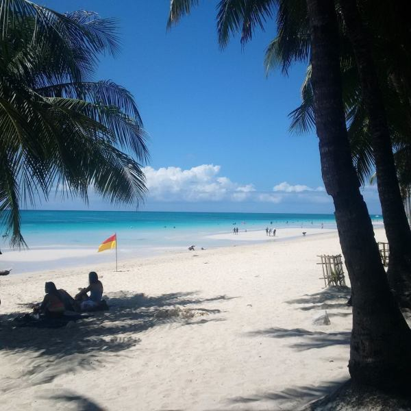 Boracay's white beach before the Halloween festivities