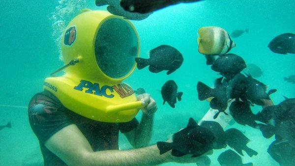 Helmet Diving at Pacman Beach Resort in Maasim