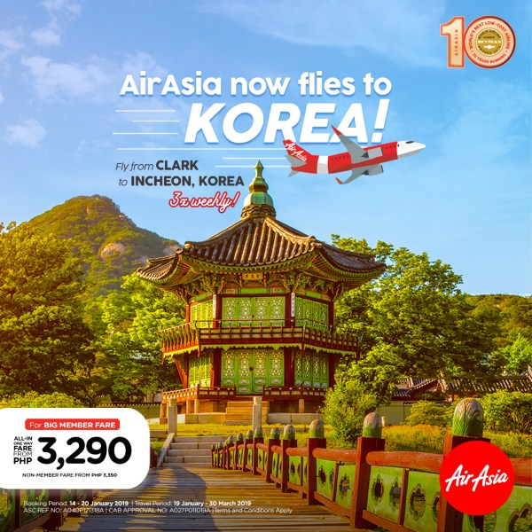 AirAsia now flies to Seoul from Clark