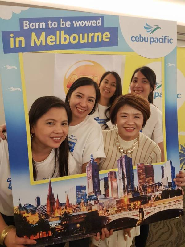 Australian Tours & Holidays (ATH)  General Manager Gina Gaw (right) with the Passenger Sales Team of Cebu Pacific led by Area Sales Manager Rhea Velez (center)