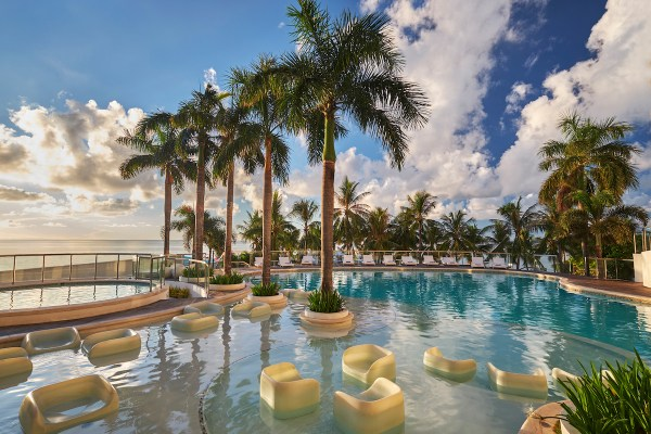 Movenpick Hotel Mactan Island Cebu's swimming pool Mövenpick Hotel Mactan Island Cebu on its 3rd nomination as the Philippines' Leading Resort in the 2019 World Travel Awards